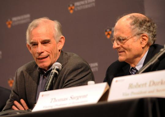 Christopher Sims (left) is a professor at Princeton University, and Thomas Sargent teaches at New York University.