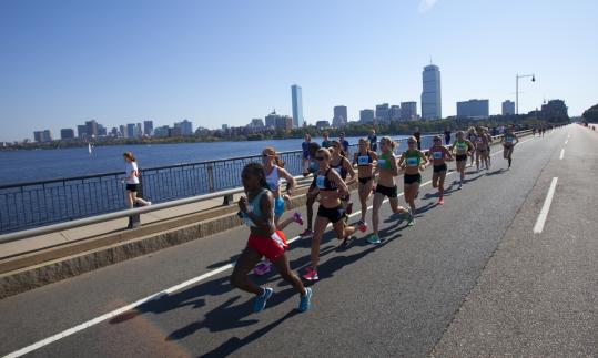 Construction on the Longfellow Bridge forced a slight course change, so runners crossed the Mass. Ave. Bridge twice.