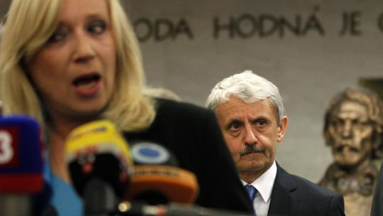 Slovakian Prime Minister Iveta Radicova spoke to the media after Parliament voted against expanding the bailout fund.