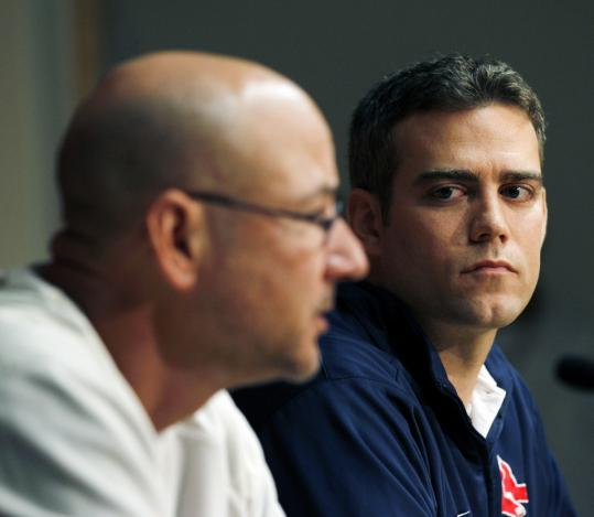 Manager Terry Francona (foreground) has left the Red Sox organization, and general manager Theo Epstein may be next.