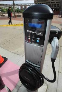 An electric-car charging station unveiled by the city of Boston.