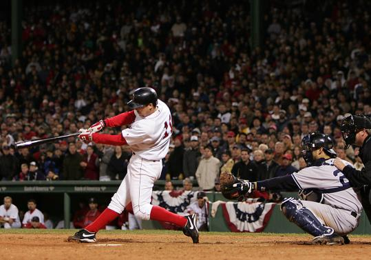 The moment things turned around for the Red Sox: Bill Mueller singles off Mariano Rivera to tie Game 4 of the ALCS in the ninth.