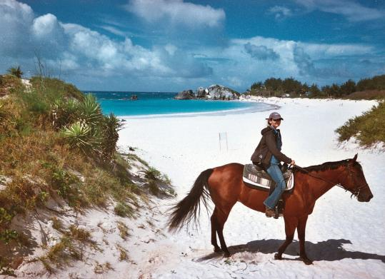 Catrin Glawischnig left Austria three years ago and leads horseback riding trips near Bermuda's Horseshoe Bay.