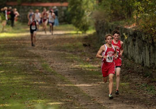 Hingham's Michael McConville (left) narrowly beat Wakefield's Stephen Robertson in the Division 2 race.