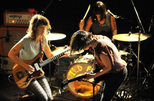 Mary Timony (left) and Carrie Brownstein lead Wild Flag at the Paradise.
