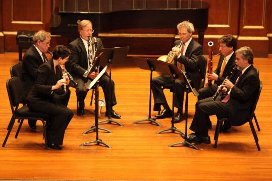 Elizabeth Rowe, John Ferrillo, Craig Nordstrom, James Sommerville, Richard Svoboda, and William Hudgins at Jordan Hall on Sunday.