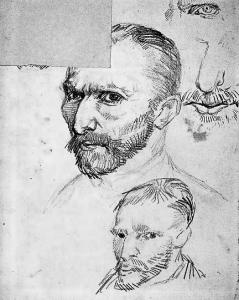 A detail of Vincent van Gogh's self-portraits (pencil and ink on paper) from 1887.