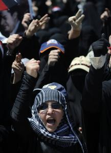 Women shouted slogans as they participated in a protest outside Yemen's foreign ministry in Sana.