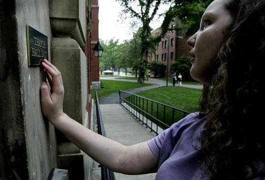 Emily Crockett identified her dorm on the Harvard campus by Braille during a 2004 tour with her orientation specialist.