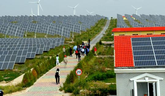 A solar panel field in China's Ningxia region. Chinese manufacturers made more than 55 percent of the world's panels last year.