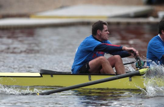 Mike Teti, coach at Cal and for the US men's eight team, made his annual Head of the Charles appearance in the 87 Gold boat.