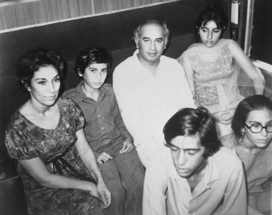 Nusrat Bhutto (left) posed with her family in 1978: her son Shahnawaz; husband, Zulfikar Ali Bhutto; daughter Benazir; son Murtaza (bottom left); and daughter Sanam (bottom right).
