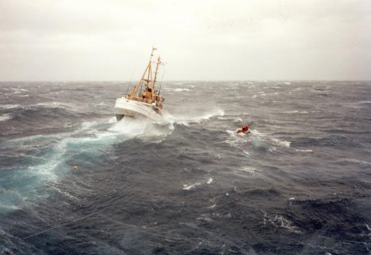 The Coast Guard cutter Tamaroa shown on its way to rescue three people aboard a sailboat in 1991.