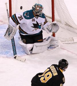 Tyler Seguin's first-period shot that hit the goal post against San Jose is indicative of the Bruins' struggles.