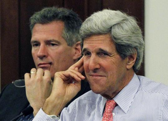 In a reversal, Senator John Kerry (right) is now backing use of super PACs. Senator Scott Brown (left) is expected to get such support as he battles Democrats in his reelection bid.