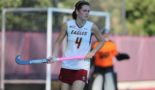 Senior Courtney Tavener, a Winchester High graduate, is a scoring leader on the BC women's field hockey team.