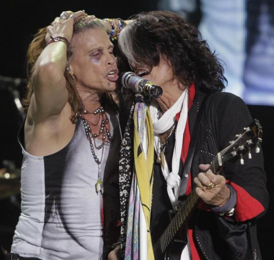 Steven Tyler (left) and Joe Perry of Aerosmith performing in Asunci&#243;n, Paraguay, on Wednesday.