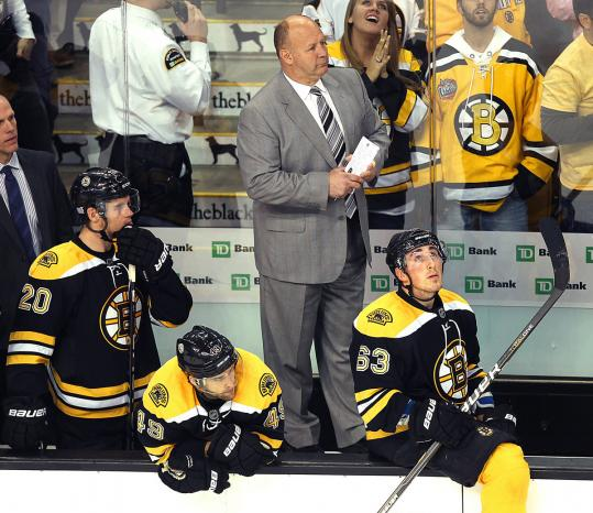 The Bruins bench is not a happy place to be in the closing seconds of another defeat.