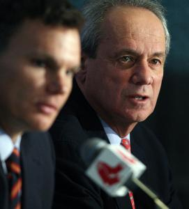 """It's hard to be in baseball for 30-plus years and not have clashed with people,"" said Larry Lucchino, Red Sox president and CEO (right), with the team's new general manager, Ben Cherington."