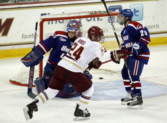 Bill Arnold's shorthanded goal in the second period gave BC a 6-1 advantage over UMass-Lowell.
