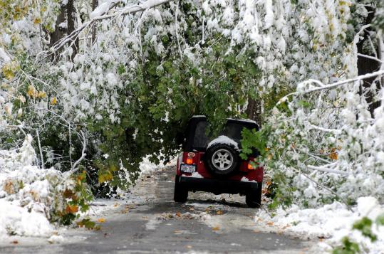 A driver had to navigate snowy roads and pass through downed branches in Cornwall, N.Y., yesterday.