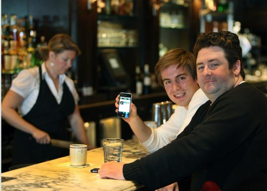 Ian Stanczyk (left) and T J Connelly have so far signed up about 50 bartenders and hundreds of users for On the Bar.