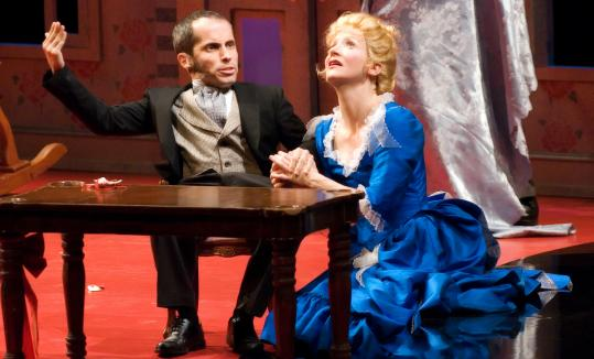 "Kristopher Medina as Torvald and Maude Mitchell as Nora in ""Mabou Mines DollHouse,'' at the Cutler Majestic Theatre."