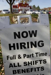 The Bob Evans restaurant in Solon, Ohio, advertised job openings Wednesday.