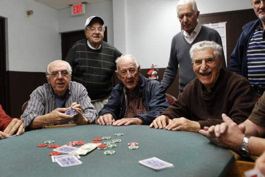 The Retired Men's Club of Arlington rents a hall at St. Camillus Church. The club serves neighboring towns, and its 648 members each pay a $25 annual fee.