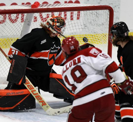 Alex Killorn got Harvard on the board by beating Princeton's Sean Bonar on this second-period goal. Killorn scored again midway through the final period.