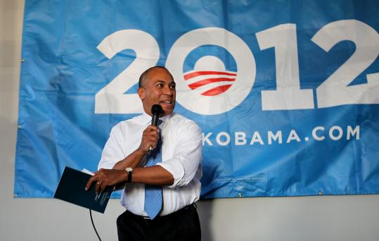Massachusetts governor Deval Patrick helped open President Obama's new campaign office in Portsmouth, N.H., yesterday.