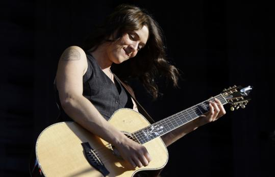 Brandi Carlile (pictured performing in Spain) played solo for the first time in Boston at Berklee on Friday.
