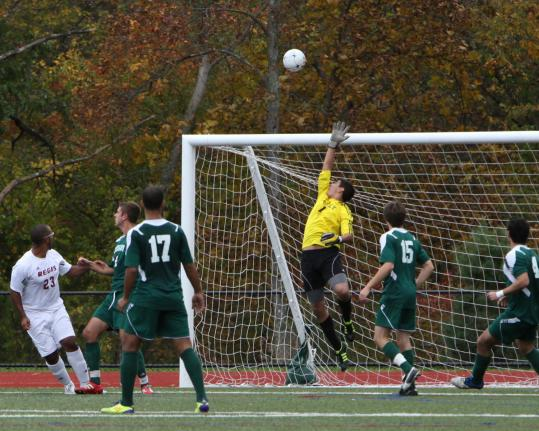 Lesley University senior goalie Max Perkins of Lexington has compiled a 13-3-0 record with a 1.00 goals-against average.