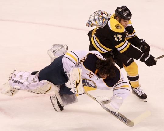 Bruins left wing Milan Lucic collides with Sabres goaltender Ryan Miller during a first-period breakaway. Lucic was given a two-minute penalty for charging.