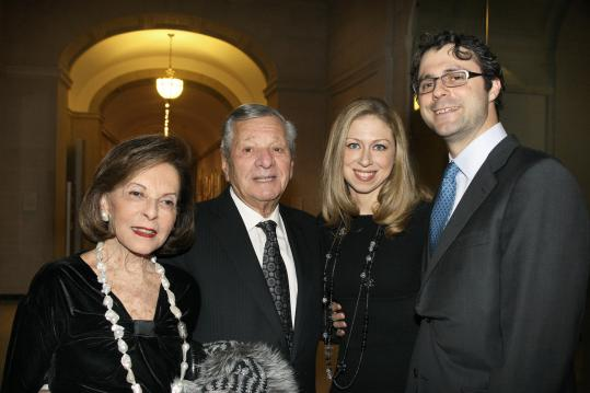 From left: Elaine and Gerald Schuster with Chelsea Clinton and husband, Marc Mezvinsky, at the Big Sister Association gala at the Museum of Fine Arts.