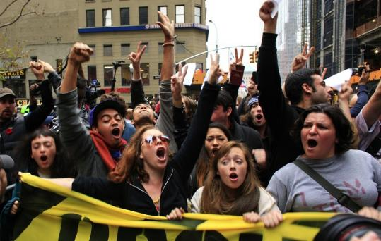 Protesters returned to Zuccotti Park in New York City yesterday, following the early-morning eviction of the camp.