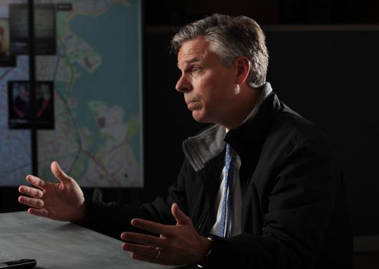 Republican presidential candidate Jon Huntsman speaks today during a visit to The Boston Globe.