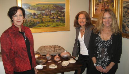 Works by ceramic artist Suzanne Hill, painter Alison Hill, and jeweler Melanie Hill Preston are on display at South Street Gallery in Hingham.