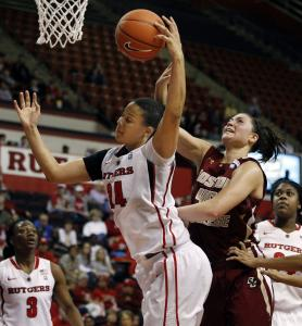 Katie Zenevitch (45) couldn't pry this rebound away from April Sykes, but the Boston College sophomore finished with a career-high 15 points.