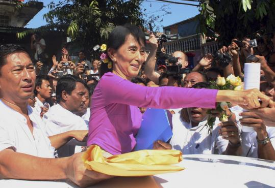 The reentry of Aung San Suu Kyi and her party into formal politics was seen as a milestone in reconciliation efforts between the military leadership and the country's democracy movement.