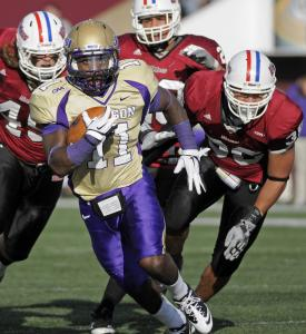 Dae'Quan Scott lugged the ball 30 times for James Madison, piling up 251 yards and two touchdowns against UMass.