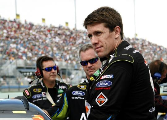 "Carl Edwards (above) said Tony Stewart ""beat him fair and square.''"
