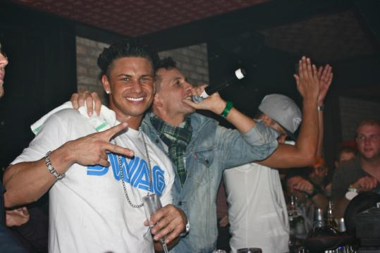 From left: Pauly D, Clinton Sparks, and Chuckie party with pals at Shrine.