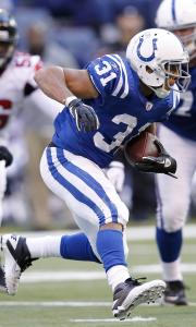 Colts running back Donald Brown might find some running room against the porous defense of the Panthers.