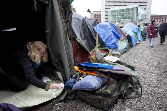 Terranova Kallemeyn tended to a women's tent at Occupy Boston's site.