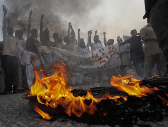 "Student protesters demonstrated against NATO airstrikes yesterday in Lahore after the attack on two military bases. ""Clearly, something went very wrong,'' said a senior US official."