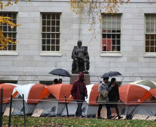 The John Harvard statue was surrounded by tents earlier this month as the Occupy Harvard protest got started.
