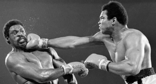 Ron Lyle (left) opposed Muhammad Ali in their 1975 title bout.
