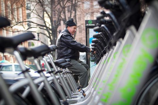 Vince Bowden of Ohio checked out the rows of bikes that are part of Boston&#8217;s bike sharing program. He previously owned a bicycle store and thought the Hub&#8217;s inventory looked great.