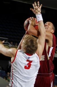 Boston College guard Lonnie Jackson, who scored 12 points in the defeat, drives against New Mexico's Hugh Greenwood.
